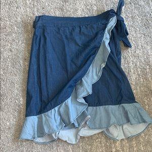 Club Monaco denim wrap skirt